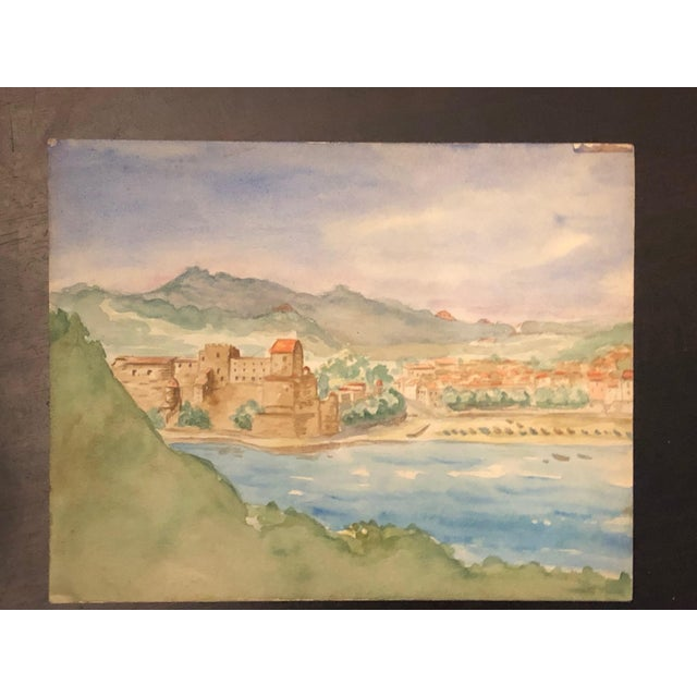 a6d08ea1d 1940s Vintage French Provincial Landscape Watercolor Paintings- A Pair For  Sale In Los Angeles -