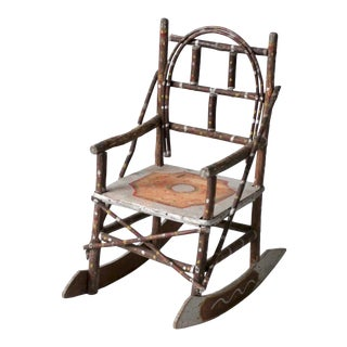 Antique Folk Art Children's Rocking Chair For Sale