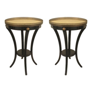 1940s Jansen Ebonized Gilt Glass End Tables - a Pair For Sale