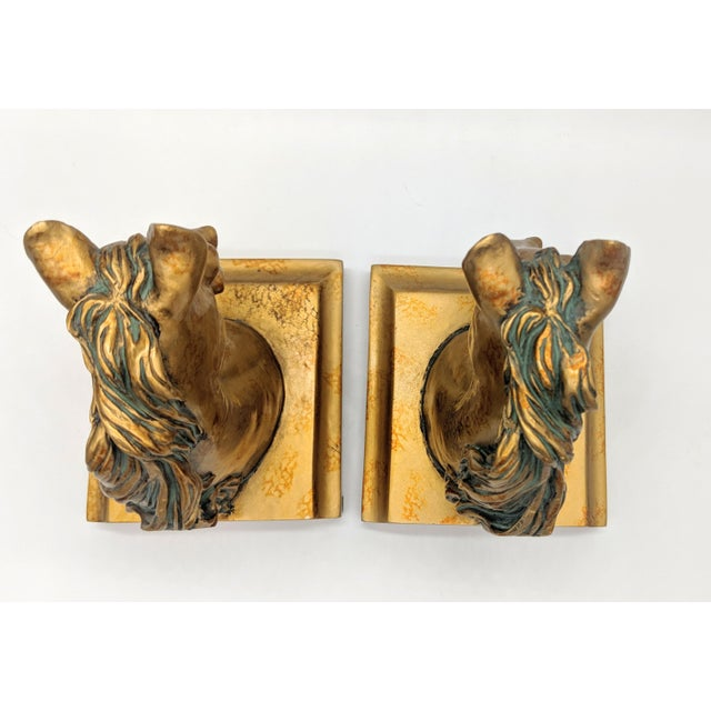 Late 20th Century 20th Century Neoclassical Gold Painted Horse Head Bookends - a Pair For Sale - Image 5 of 8