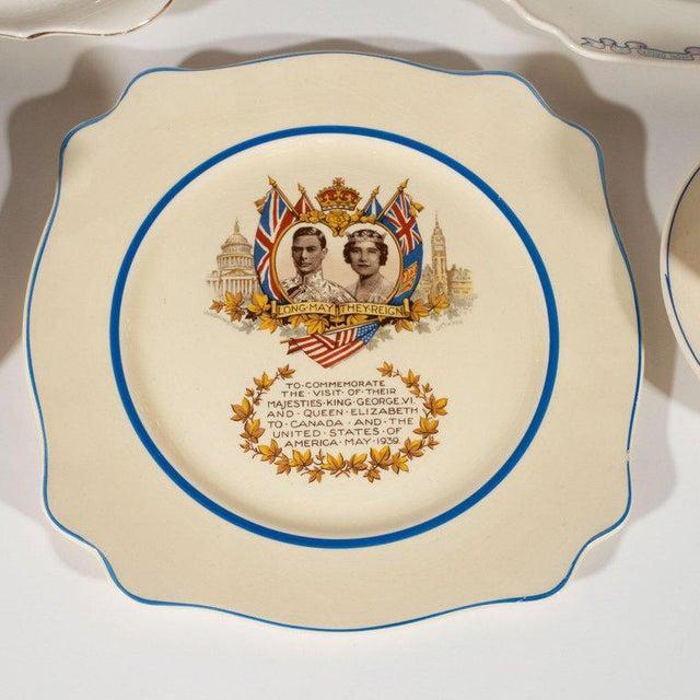 Metal English Art Deco Royal Commemorative Porcelain Coronation Set For Sale - Image 7 of 13