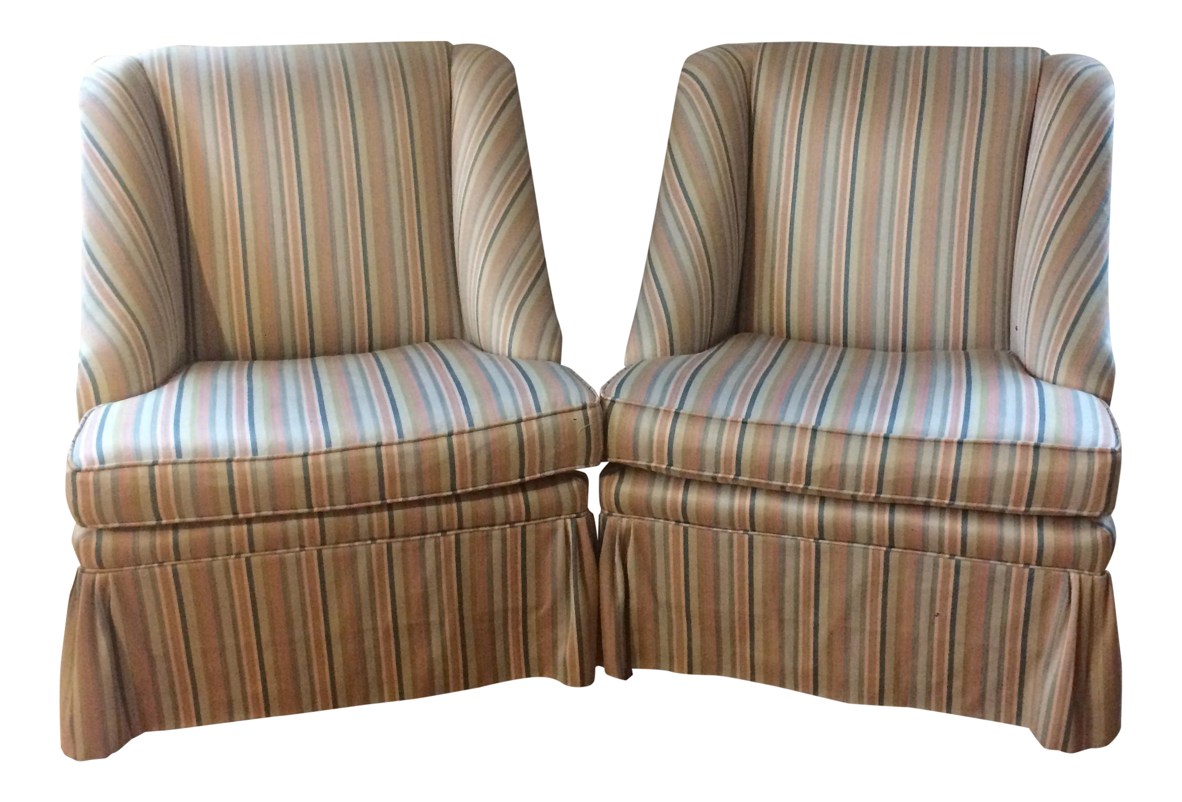 Striped Skirted Slipper Chairs   A Pair