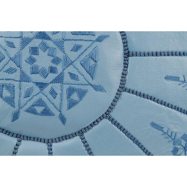 Light Blue Moroccan Leather Pouf - Image 2 of 3