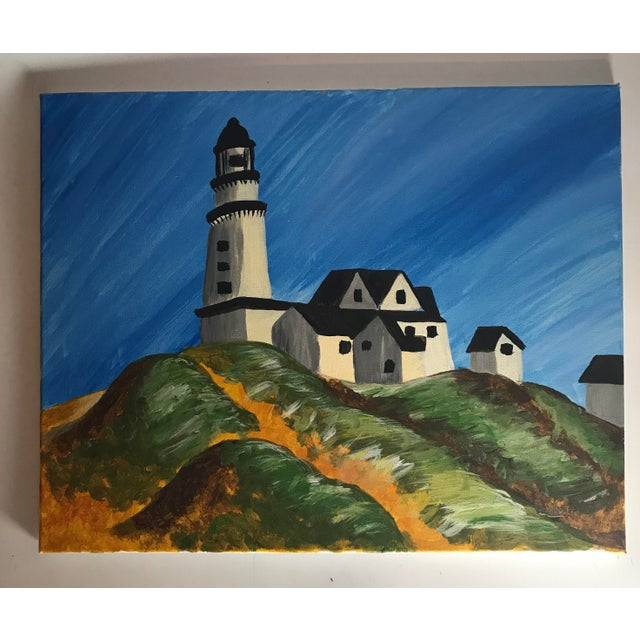 "Late 20th Century Late 20th Century Vintage ""Montauk Lighthouse"" Acrylic Painting For Sale - Image 5 of 5"