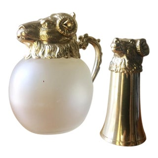 Vintage Mid-Century Silver-Plated Aries Ram's Head Pitcher/Decanter & Stirrup Cup - Set of 2 For Sale