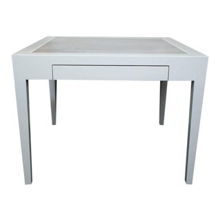 Metallic Grey Leather and Lacquer Game Table For Sale