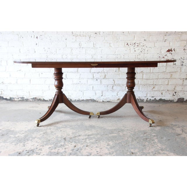 1980s Drexel Heritage Banded Mahogany Double Pedestal Extension Dining Table With Eight Chairs For Sale - Image 5 of 13