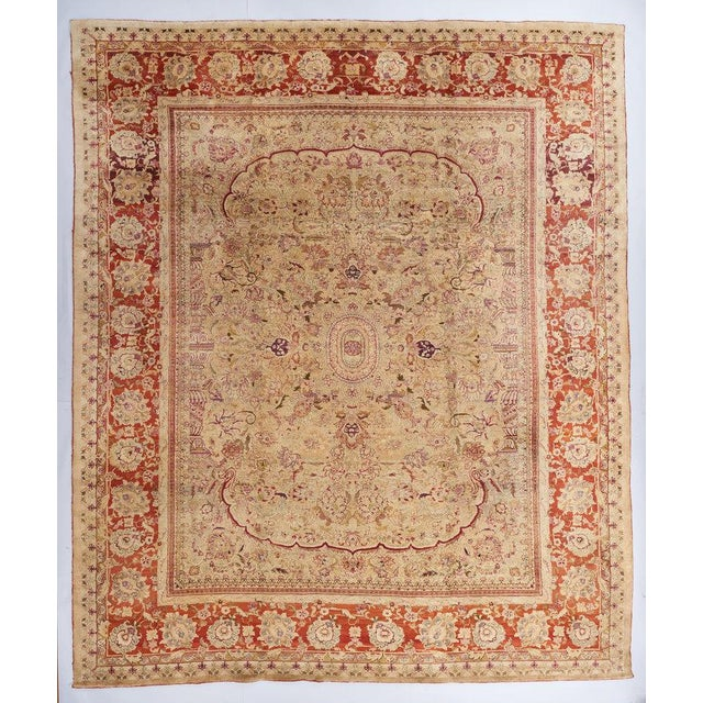 Red Beige Ground Indian Carpet For Sale - Image 8 of 8