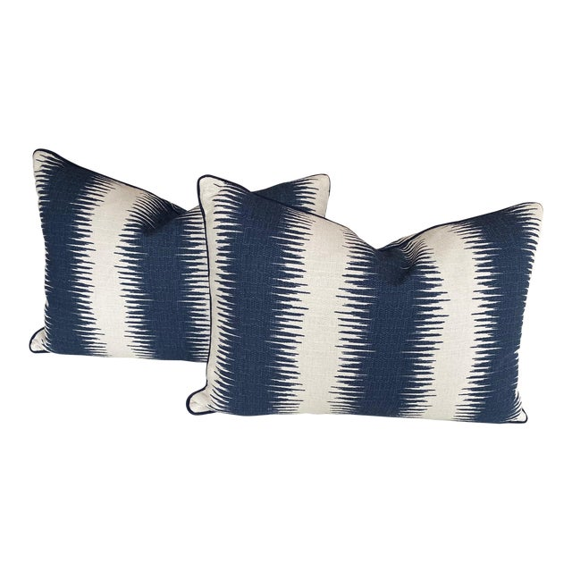 Blue and White Woven Striped Pillows - a Pair For Sale