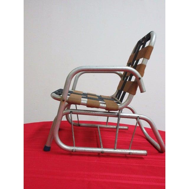 Vintage Mid Century Child's Aluminum Glider Porch Patio Chair - Image 2 of 7