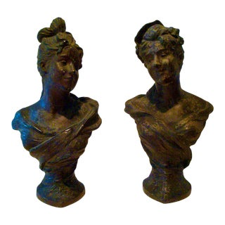 Pair Art Nouveau French Busts of Maidens Bronze Finish For Sale