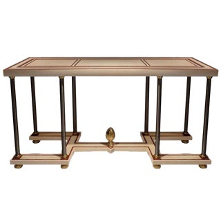 French Resin Console Table with Brass Details For Sale