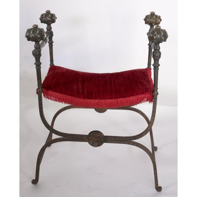 19th century large Savonarola Faldistorio style bench made of iron and brass in excellent used condition.
