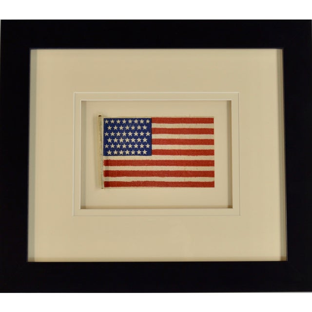 Antique 45 Star Flag (Circa 1896). Museum framed with UV acrylic and double matted.