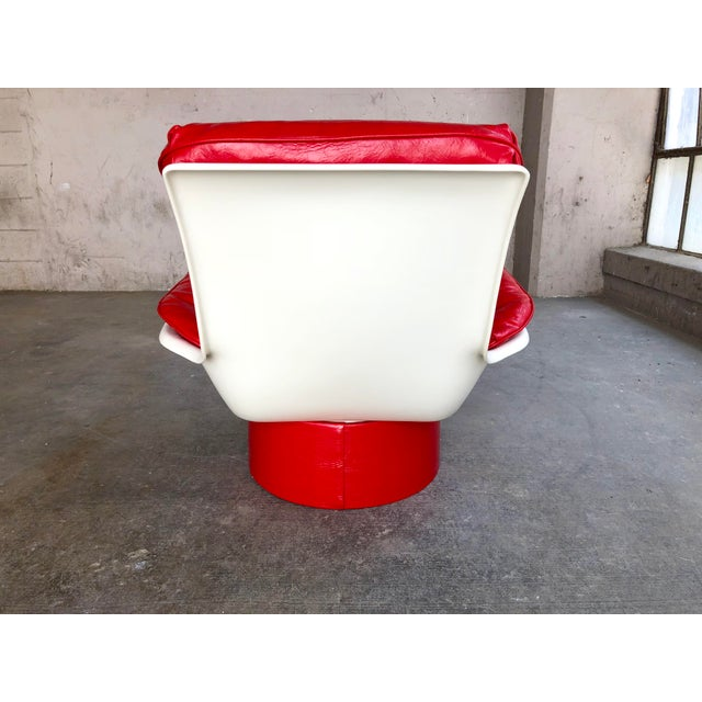 Mid Century Modern Space Age Red Leather Swivel Lounge Chair Molded Plastic Decorion Futorian Italian Style Vintage MCM For Sale In Milwaukee - Image 6 of 11