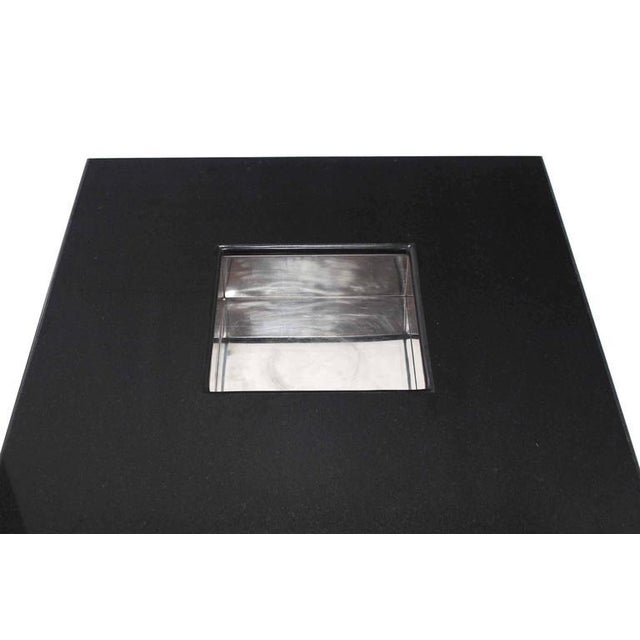 Granite Mid-Century Modern Square Granite Top Coffee Table For Sale - Image 7 of 11
