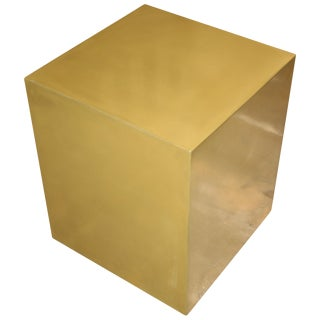 Bridges Over Time Originals Brass Coated Cube Table For Sale