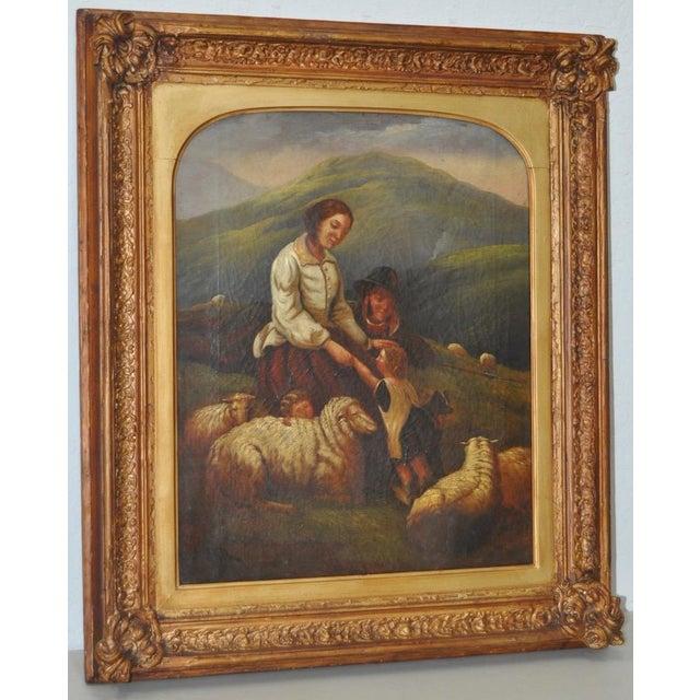 "19th Century European Oil Painting ""Shepherd Family"" - Image 2 of 11"