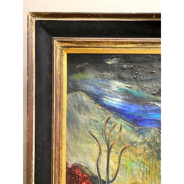 Large Vintage Oil on Canvas Signed Charles Melohs Nighttime Scene Painting Framed For Sale - Image 4 of 10