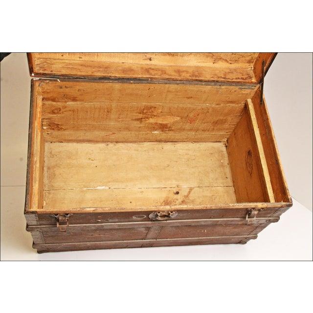 Vintage Brown Wood Steamer Trunk - Image 9 of 11