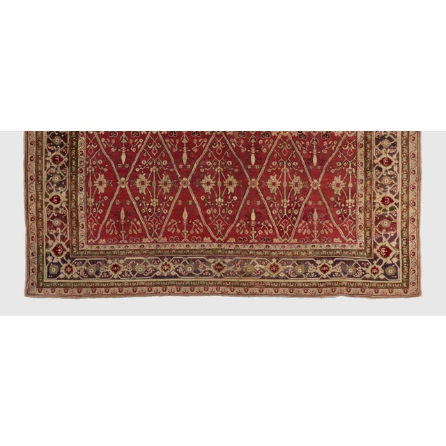 Traditional Late 19th Century Red Ground Agra Carpet - 7′9″ × 10′10″ For Sale - Image 3 of 6