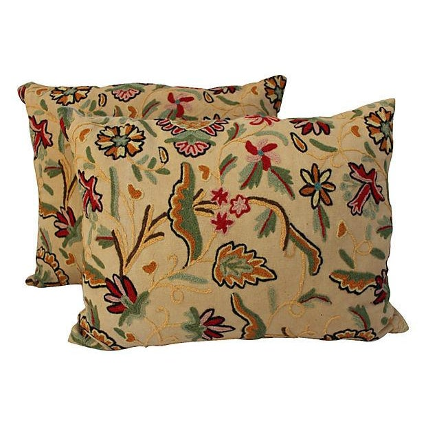 English Crewelwork Floral Pillows - Pair - Image 1 of 6