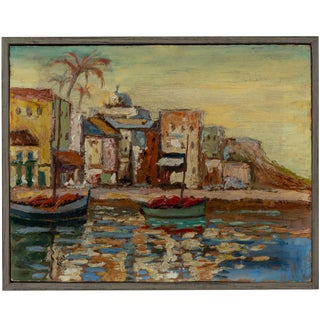 """Vintage """"Boats and Buildings"""" Mediterranean Seaside Painting For Sale"""