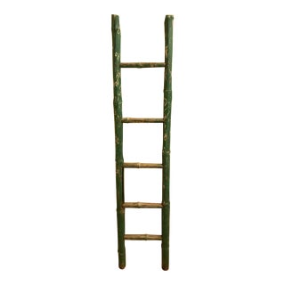 Vintage Green Chipped Paint Bamboo Ladder