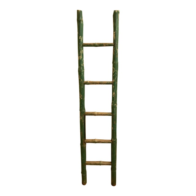 Vintage Green Chipped Paint Bamboo Ladder For Sale