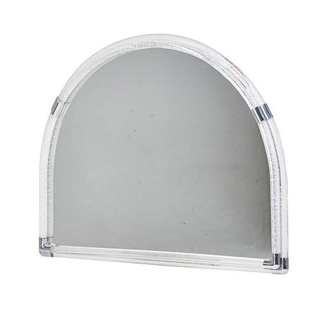 Large Venini opaque glass semicircle wall mirror, with polished chrome mounts.