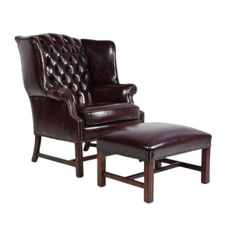 Vintage Chesterfield-style Wingback Chair and Foot Rest