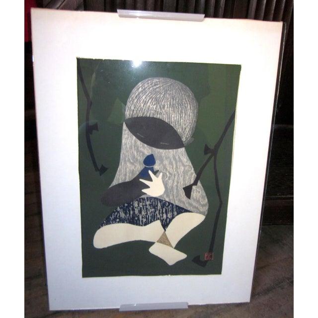 "Wood 1950s Vintage Kaoru Kawano ""Conversation"" Signed Japanese Woodblock Print For Sale - Image 7 of 7"