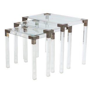 1950s French Mid-Century Lucite & Metal Nesting Tables - Set of 3 For Sale