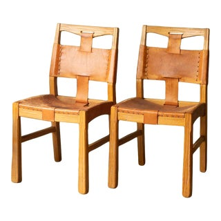 1940s Vintage Custom A. Brandt Leather Dining Chairs - a Pair For Sale