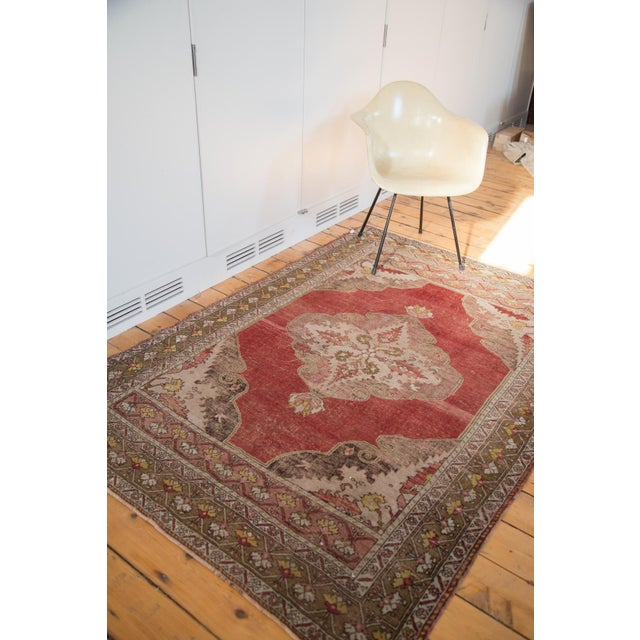 "Vintage Distressed Oushak Rug - 4'8"" X 6'10"" - Image 6 of 8"
