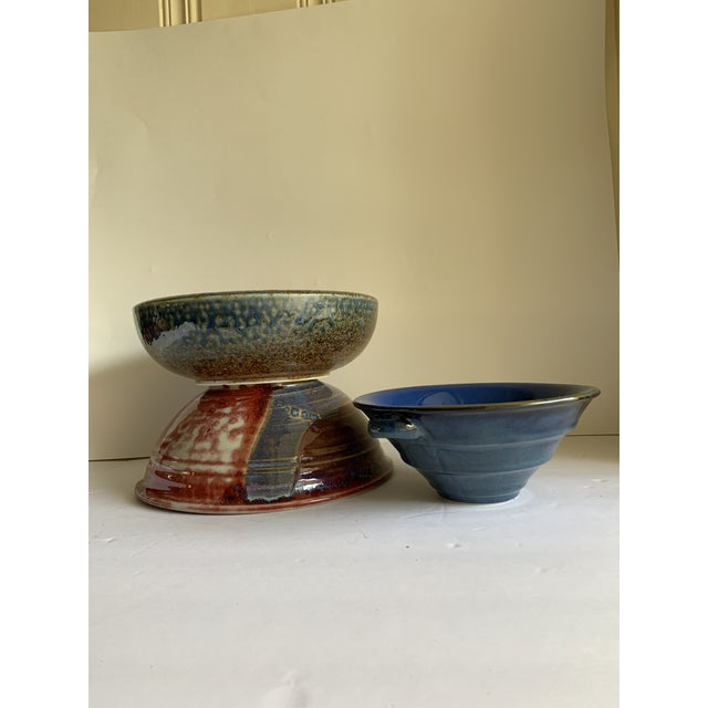 Rustic Rustic Farmhouse Style Pottery Bowls, Set of Three For Sale - Image 3 of 13