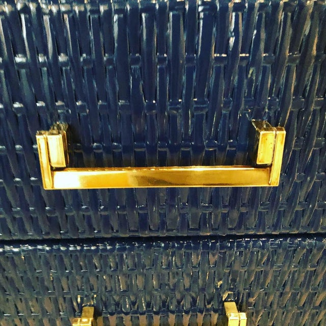 Vintage, newly lacquered navy blue, including inside drawers, polished brass pulls. This can be used as a dresser, chest,...