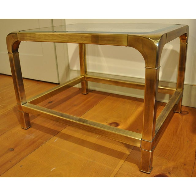Hollywood Regency 1970 Hollywood Regency Mastercraft Brass and Glass Low Profile Side Tables - a Pair For Sale - Image 3 of 11