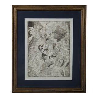 Mae Engron Heart Abstract Etching For Sale
