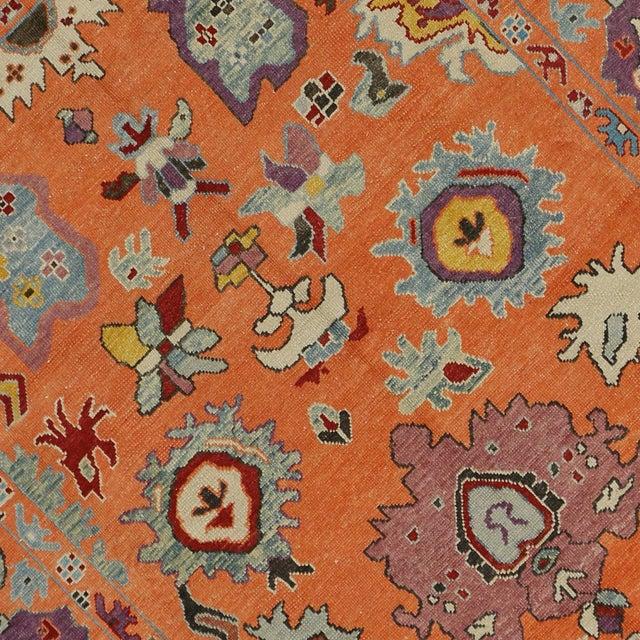 Contemporary Turkish Modern Style Orange Oushak Rug - 9′9″ × 12′2″ - Image 5 of 5