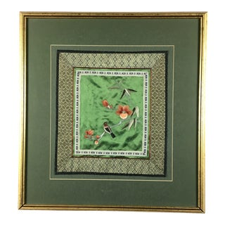 Chinese Framed Silk Flower Embroidery For Sale