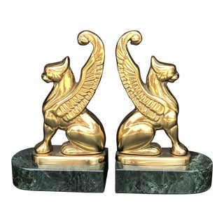 Mid Century Gargoyle Griffin Brass & Marble Bookends - a Pair For Sale