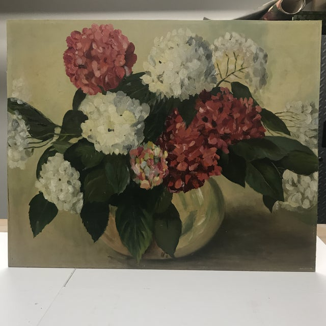 Rose 1952 Oil Painting by H G White, Still Life Hydrangeas For Sale - Image 8 of 8