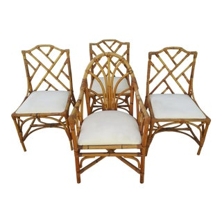 1970s Vintage Classic Bamboo & Rattan Dining Chairs - Set of 4 For Sale