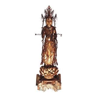 Antique Japanese Buddhist Wood Sculpture of Kannon-Bosatsu For Sale