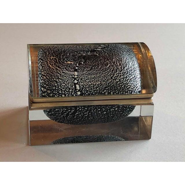 Alessandro Mandruzzato Italian Mid Century Silver Leaf and Black Murano Sommerso Box For Sale - Image 4 of 9