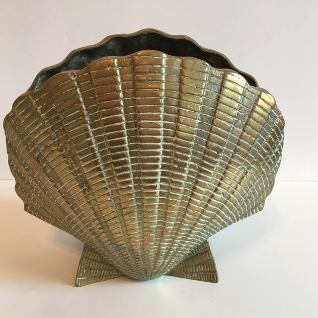 Vintage Brass Shell Vase - Image 2 of 7