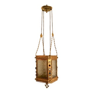 Antique Brass Decorative Hall Lantern, Circa 1880's. For Sale
