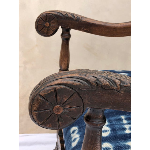 Blue 19th Century French Oak Carved Armchair W/ Mali Indigo Textile For Sale - Image 8 of 13