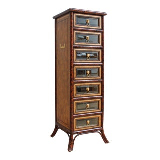 Vintage Maitland Smith Faux Bamboo, Tortoiseshell Chest of Drawers- Lion Head Pulls and Beveled Glass
